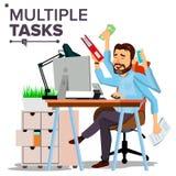 Multiple Tasks Businessman Vector. Many Hands. Efficiency And Productivity. Plodding Worker. Flat Cartoon Illustration stock illustration