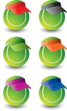 Multiple tennis balls. Tennis balls with multiple colored visors Royalty Free Stock Photos