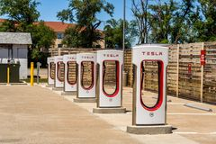 Multiple Tesla chargers in Arizona stock photo