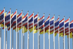 Multiple thailand flags with nice blue sky Stock Photo