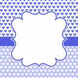 Blue Hearts frame invitation card. Multiple tiny blue hearts background. Vintage frame border to write message Stock Images
