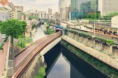 Multiple train lines in Ochanomizu, Tokyo, Japan Royalty Free Stock Image