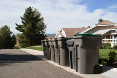 Multiple Trash Bins Stock Photography