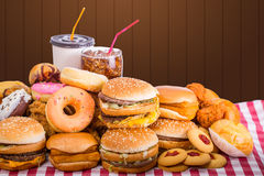 Multiple type of Fast food Royalty Free Stock Photos