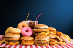 Multiple type of Fast food Stock Image