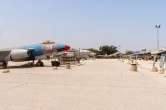 Multiple types of military jets. HATZERIM, ISRAEL - APRIL 27, 2015: Multiple types of military jets which served in IAF are displayed in Israeli Air Force Museum Royalty Free Stock Photos