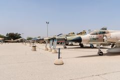 Multiple types of military jets. HATZERIM, ISRAEL - APRIL 27, 2015: Multiple types of military jets which served in IAF are displayed in Israeli Air Force Museum Stock Image