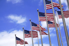 Multiple US flags Royalty Free Stock Image
