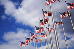 Multiple US flags. Found these at a businesspark. Beautiful Carolina blue sky Royalty Free Stock Photos