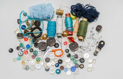 Multiple various sewing set on grey background Stock Photos
