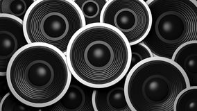 Multiple various size black sound speakers background. 3d illustration Royalty Free Stock Images