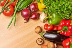 Multiple vegetables on the table Stock Images