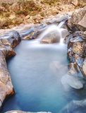 Multiple waterfalls, seemingly vibrant blue and  green in color, with cold pools. Stock Image
