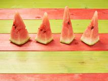 Multiple watermelon pieces composition royalty free stock photography