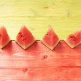 Multiple watermelon pieces composition royalty free stock images