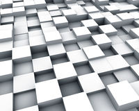 Multiple white cubes background. Multiple white cubes perspective  background Royalty Free Stock Images