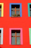 Multiple window. Frames on red wall Royalty Free Stock Photography