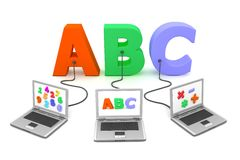 Multiple Wired to ABC. Three laptops with different letters, numbers and symbols on the screen are connected to the colourful 3D letters ABC Stock Photo