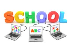 Multiple Wired to Colourful School. Three laptops with different letters, numbers and symbols on the screen are connected to the multicoloured 3D letters SCHOOL Stock Image