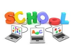 Multiple Wired to Colourful School. Three laptops with different letters, numbers and symbols on the screen are connected to the multicoloured and jumbled 3D Royalty Free Stock Images