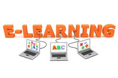 Multiple Wired to E-Learning. Three laptops with different letters, numbers and symbols on the screen are connected to the orange 3D letters E-LEARNING Royalty Free Stock Image