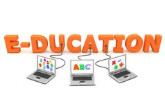 Multiple Wired to Education. Three laptops with different letters, numbers and symbols on the screen are connected to the orange 3D letters EDUCATION Royalty Free Stock Photos