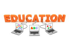 Multiple Wired to Education. Three laptops with different letters, numbers and symbols on the screen are connected to the orange 3D letters EDUCATION Royalty Free Stock Images