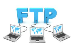 Multiple Wired to FTP. Three laptops with worldmap connected to the 3D word FTP Royalty Free Stock Images