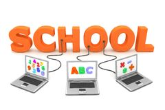 Multiple Wired to School. Three laptops with different letters, numbers and symbols on the screen are connected to the orange 3D letters SCHOOL Stock Image