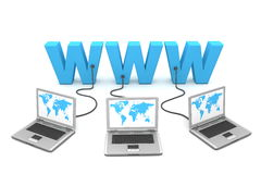 Multiple Wired to WWW stock illustration