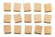 Multiple Wood Tiles. Various Wood Square Tiles with Copy Space Isolated on a White Background stock image