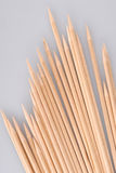 Multiple wooden bamboo skewers laying Royalty Free Stock Image