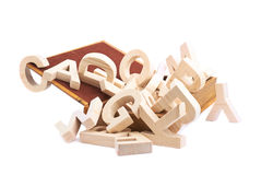 Multiple wooden letters in a book Royalty Free Stock Photo