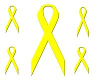 Multiple Yellow Ribbons Stock Photography