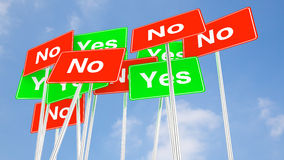 Multiple yes and no signs with cloudy blue sky Royalty Free Stock Photos