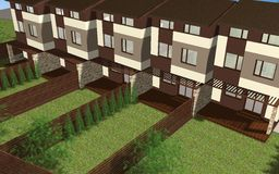 Multiplex family house render Royalty Free Stock Photo