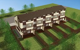 Multiplex family house render Royalty Free Stock Images