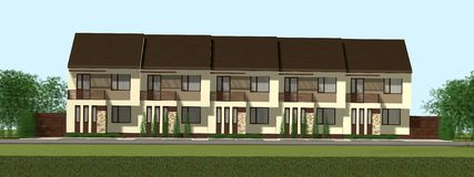Multiplex family house render Royalty Free Stock Image