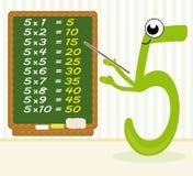 Multiplicação de ensino - número 5 Fotos de Stock Royalty Free