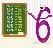 Multiplication de enseignement - numéro 6 Photos libres de droits
