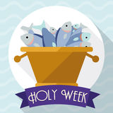 Multiplication of Fishes Scene in Flat Style for Holy Week, Vector Illustration royalty free stock photography