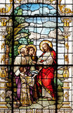 The Multiplication of the Loaves and Fish. Stained glass window in the Basilica of the Sacred Heart of Jesus in Zagreb, Croatia stock photos