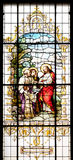 The Multiplication of the Loaves and Fish. Stained glass window in the Basilica of the Sacred Heart of Jesus in Zagreb, Croatia stock image