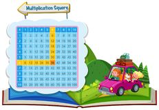 Multiplication square with couple in a car stock illustration