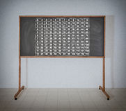 Multiplication table. On a black school board Stock Images