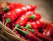Multiplicidad de pimientas de chile rojo imagen de archivo