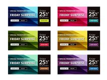 Multipurpose banner design in 6 different color themes Stock Photography