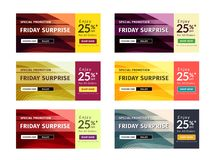 Multipurpose Banner Design in 6 Different Color Themes. Stock Photography
