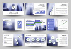 Multipurpose business presentation vector templates with blurred photo elements. Corporate brochure design with Royalty Free Stock Photography