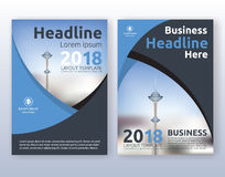 Multipurpose corporate business flyer layout design. Suitable for flyer, brochure, book cover and annual report. blue and black color scheme in A4 size layout Royalty Free Stock Photography